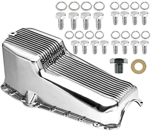 NEW SOUTHWEST SPEED POLISHED ALUMINUM FINNED OIL PAN FOR 1955-1979 SMALL BLOCK CHEVY 262-350ci ENGINES, 2 PIECE REAR MAIN SEAL, 4 QUART, LEFT HAND DIPSTICK (4 Transmission Seal Speed Main)