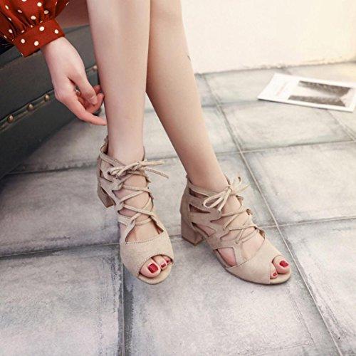 Sandali Con Zeppa Donna Inkach - Sandali Con Tacco In Pizzo Da Donna Alla Moda - Scarpe Con Cinturino Alla Caviglia Beige