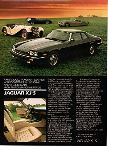 "Magazine Print Ad: Black 1986-1987 Jaguar XJ-S, SS-100, LeMans D-Type, XK Series,""A Legendary Performance Heritage"""