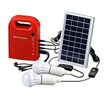 Portable Solar Power Home System Energy Kit Include 4 in 1 USB Cable Solar Panel 2 Lamps For Lighting and Charging Everywhere