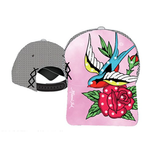 (Miami Ink Tattoo Art Womens Mesh Snapback Bird Flower Ladies Tie Dye Hat Cap)