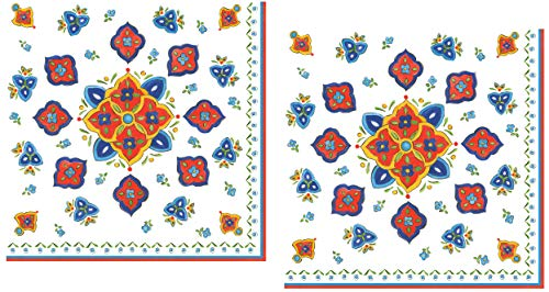 40 Le Cadeaux Marrakech Paper Napkins | Moroccan, Boho, Mexican Fiesta Style Disposable Dinner Paper Napkin Set | Floral Tile Theme with Shades of Blue, Orange, Green, Yellow on White Background ()