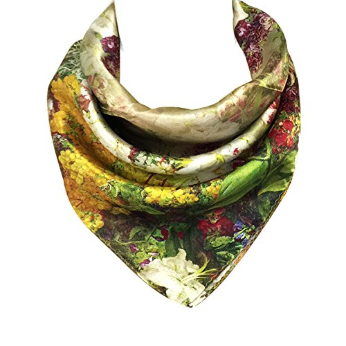 - Wrapables 100% Charmeuse Silk Square Scarf Neckerchief, Victorian Garden