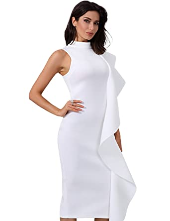 Miss Water Bandage-Dress-White Bodycon Runway Lotus Chic Prom Dress for Luxury Cocktail