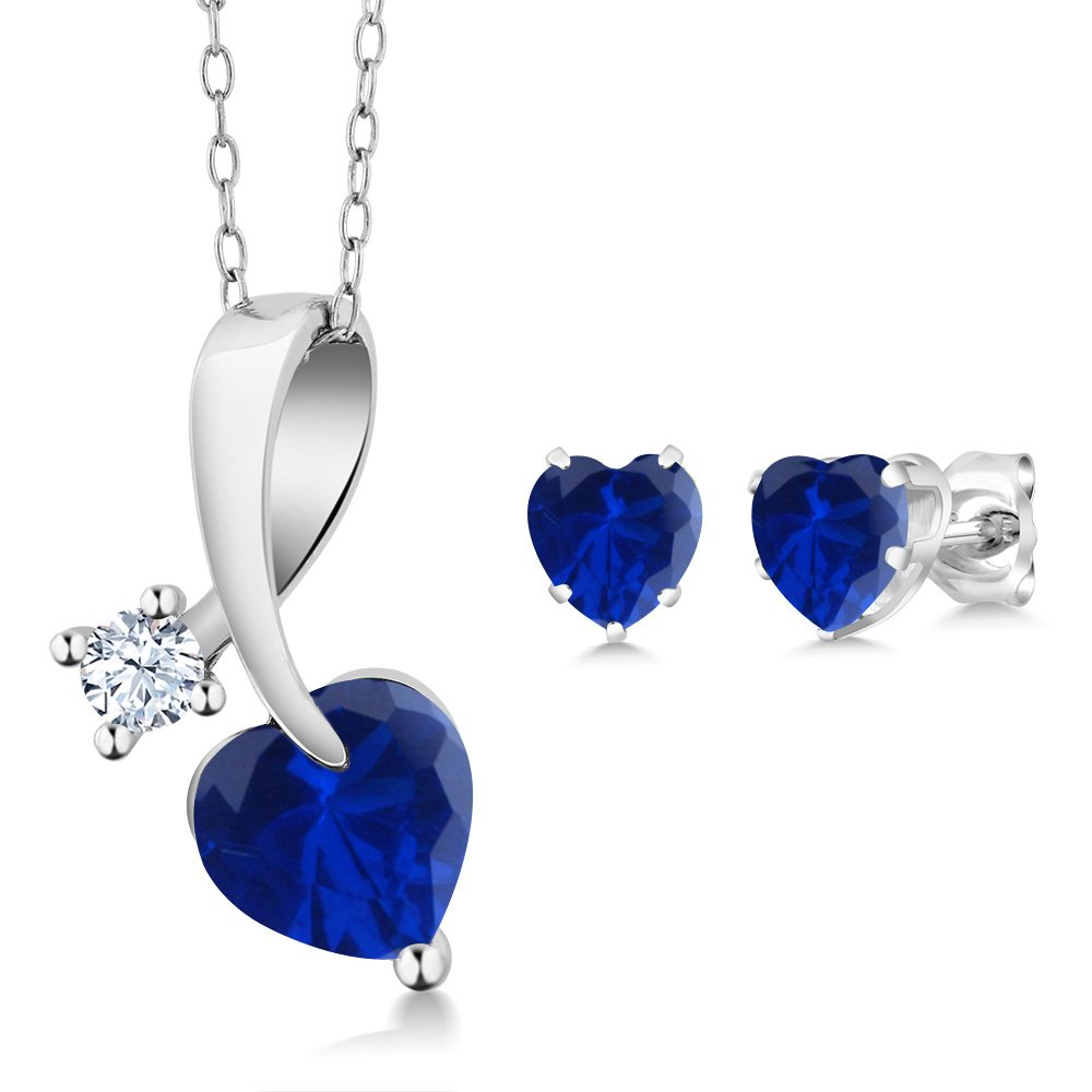 2.43 Ct Blue Simulated Sapphire 925 Sterling Silver Pendant Earrings Set