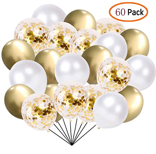 60 Pcs Pack-White, Gold, Golden Confettii Balloons with Ribbon,Set for Father's Day Weddings Birthday Party Decoration,Bridal & Baby Showers Balloons 12 Inch -