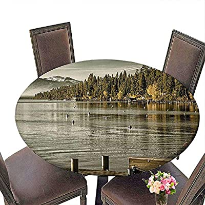 """Cheery-Home Round Tablecloth(Elastic Edge) Suitable for All Occasions, (29.5"""" Round) Forest Trees at Lakeside Carnelian Bay Tahoe California USA Boardwalk Tranquil Scene Green Sage Green."""
