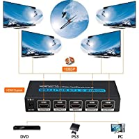 HDMI Splitter NiceHyacinth 4 Ports 4K HDMI2.0 Powered HDMI Splitter 1X4 Support Ultra HD 4096 x 2160 Resolution 18Gbps and 3D Mode - 1 In 4 Out