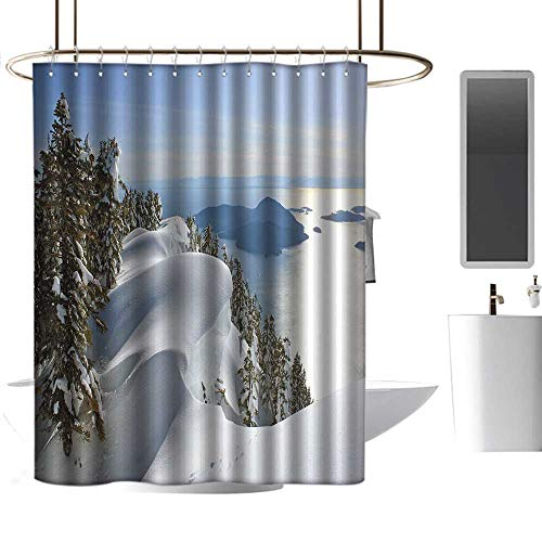 Winter Waterproof Bathtub Curtain Pacific Ocean Meets The Mountains Vancouver British Columbia Canada Wilderness Scenery Metal Build W72 xL72 ()