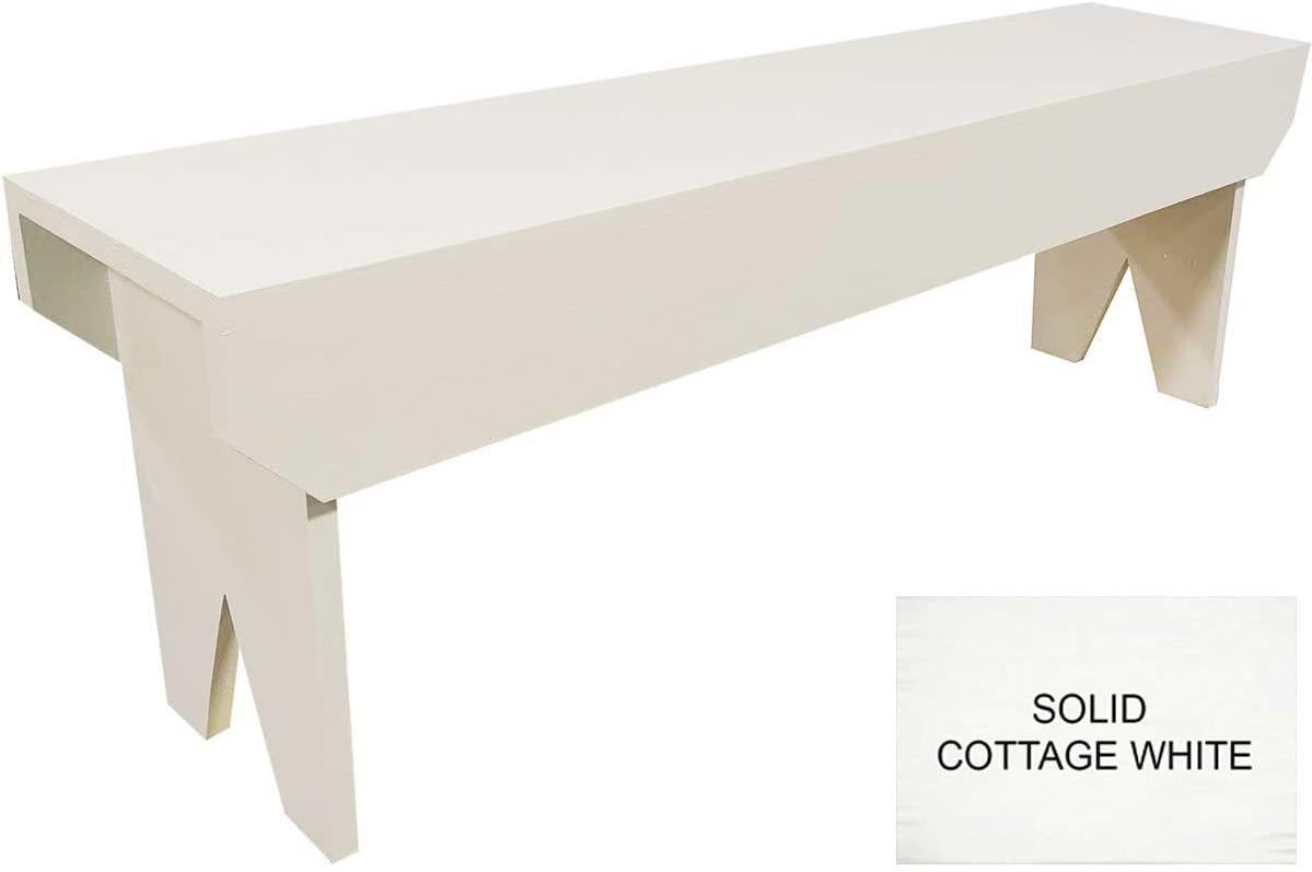 4 Foot Wood Bench Solid Cottage White