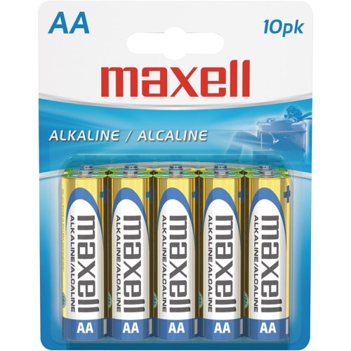 Maxell 723410P Ready-to-go Long Lasting and Reliable Alkaline Battery AA Cell 10-Pack with High Compatability by...