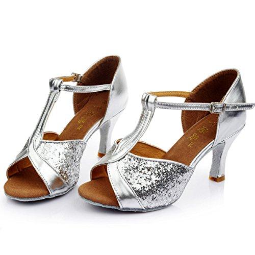 Professional weitere Des Sandalen Med Frauen Farben Satin Der Schuhe Mädchens Obermaterial Dance Salsa 38 Ballroom Schuh Latin Silver Btt6rqx