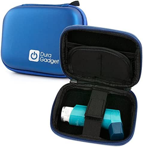 DURAGADGET Sturdy Hardwearing Blue Twin Zip Hard Carry/Storage Case with Belt Clip - Compatible with Blue Inhalers Relievers for Asthma
