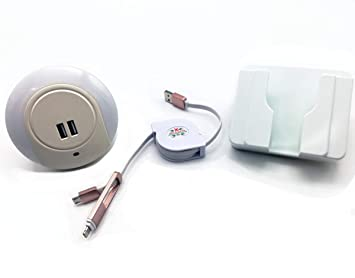Luz Nocturna con Cargador Doble USB + Soporte Pared para ...