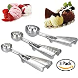 #3: QHTY  Small-Medium-Large 3 Packs Ice-Cream Scoop Stainless Steel and Trigger Cookie Spoon Melon Spoon