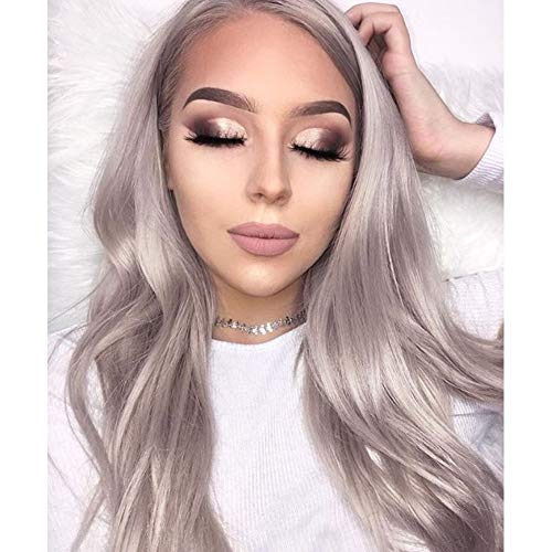 Imstyle Silver Grey Synthetic Lace front Wig Long Natural Straight Gray Replacement Hair Wigs for Women Glueless Cap Heat Resistant Hair 24 Inches Natural Middle Part Line