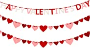 Auihiay Felt Heart Garland Banner and Happy Valentine's Day Banner - No DIY Valentines Decorations for Anniversary, Wedding,