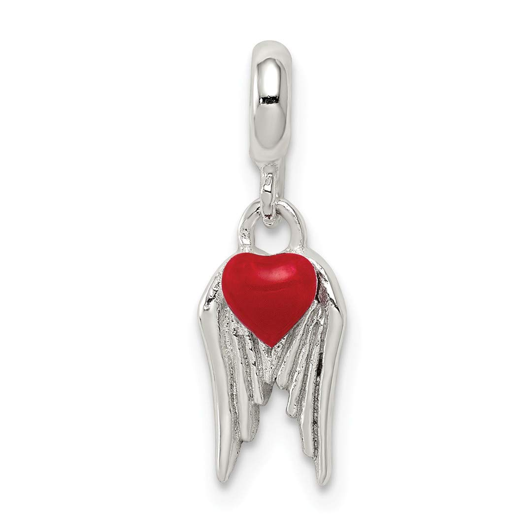ICE CARATS 925 Sterling Silver Red Enameled Heart Wings Enhancer Necklace Pendant Charm Love Fine Jewelry Ideal Gifts For Women Gift Set From Heart by ICE CARATS (Image #1)