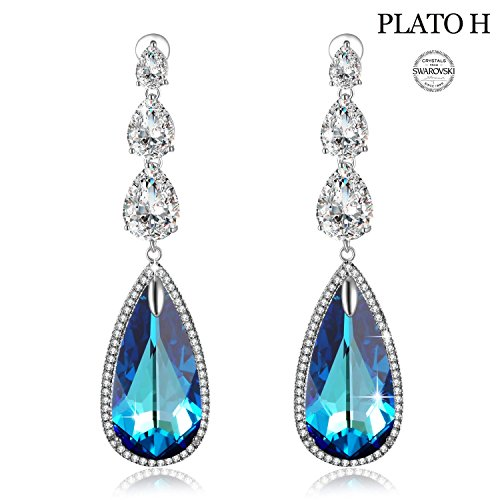 Earring For Woman PLATO H Ocean Blue Heart Teardrop Earrings with Swarovski Crystals Women Fashion Jewelry Romantic Gift for Her Blue Crystal Earring (Blue Sapphire Swarovski Earrings)
