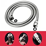 HOMY Flexible Metal Shower Tubing/Hose Faucet 48-Inch for Bathroom Toilet Handheld Showerhead Sprayer Extension Replacement Part with Stainless Steel, Polished Chrome