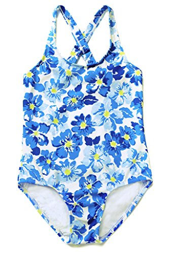Sociala Girls Printed Crossover One Piece Swim Suit Swimming Costume 7-8T Blue