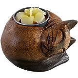 Fair Trade Wooden Cat Tealight Candle Holder