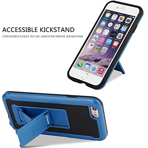 iPhone 6S Case, iPhone 6 Case, Vakoo [TPU Textured] Stand Series Slim Fit Hybrid Shockproof Defender Rugged Protection Kickstand Case Cover for Apple iPhone 6/6S (Blue/Black)