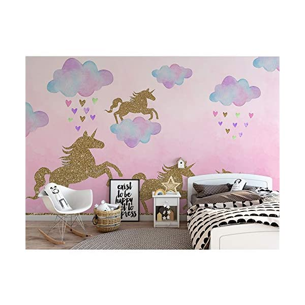 Unicorn Wall Decal, 2 Sheets Unicorn Wall Decor Stickers Removable Vinyl Decals Gifts for Girls Bedroom Kids Rooms Baby Nursery Home 4