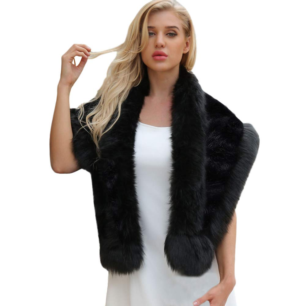 YANG-YI HOT, Elegant Bridal Wedding Faux Fur Long Shawl Stole Wrap Shrug Scarf