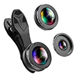 Phone Camera Lens,3 in 1 Phone Lens,0.36X Super Wide Angle Lens+15X Macro Lens+230°Fisheye Lens 3 in 1 HD Cell Phone Camera Lens Kit for iPhone X/8/8Plus/7/7 Plus/6s/6/5, Samsung and Most Smartphones