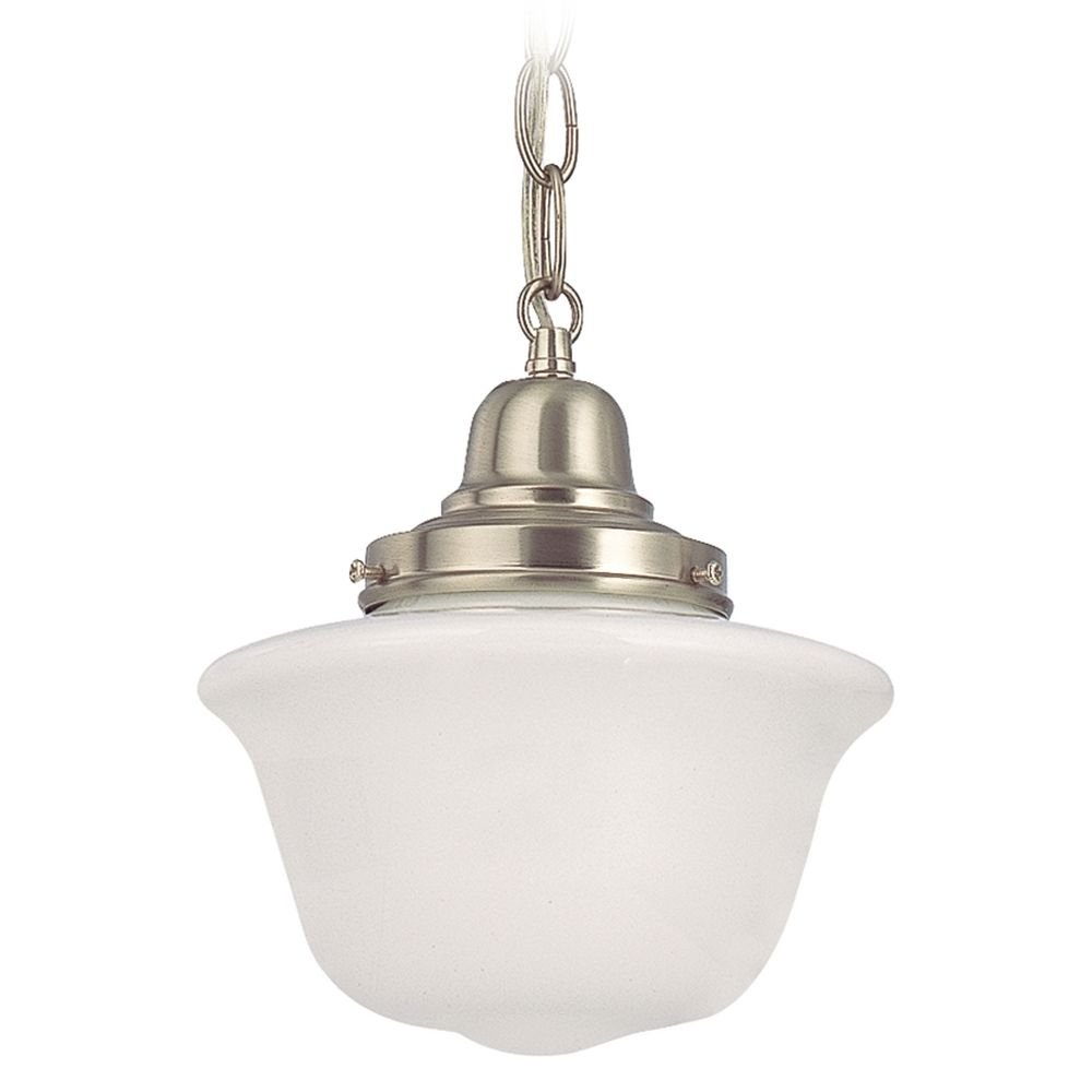 8-Inch Schoolhouse Mini-Pendant Light with Chain in Satin Nickel