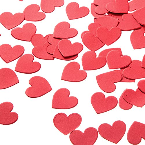 MOWO Hot Red Heart Paper Confetti Wedding Birthday Party Favors Love Theme Table Scatter Decorations, 1.2 inch, 200pc
