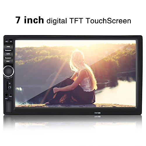 7inch Audio Double Din HD Touch Screen Bluetooth Car MP5 Player FM Radio USB AUX Remote Control Rearview Camera by fosa