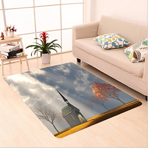 Nalahome Custom carpet Christian Small Church Trees View Silky Satin Orange White Gray area rugs for Living Dining Room Bedroom Hallway Office Carpet (24''x40'') by Nalahome