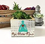 Be Here Now Yoga Pose Succulent Planter, Whitewashed Wood Box Gift for Yogi
