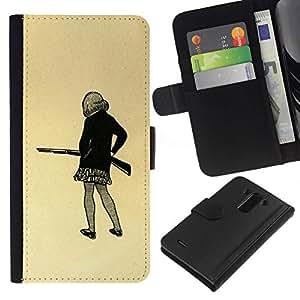 All Phone Most Case / Oferta Especial Cáscara Funda de cuero Monedero Cubierta de proteccion Caso / Wallet Case for LG G3 // Girl Gun Drawing Art Mini Skirt Pencil Shoot