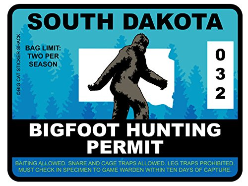 Bigfoot Hunting Permit - SOUTH DAKOTA (Bumper Sticker)