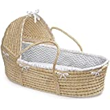 Badger Basket Hooded Moses Basket Chevron Bedding, Natural/Gray/White