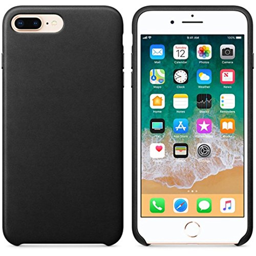 (AIMTOPPY Ultra-Thin Leather Soft Protective Case Cover For iPhone 8/7 plus 5.5inch (free, Black))
