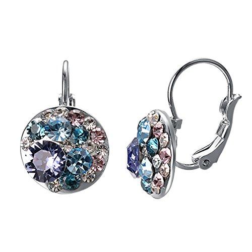 VOGEM Crystal Leverback Earrings Aquamarine Birthstone Multi Stone Round Dangle Drop Earrings For ()