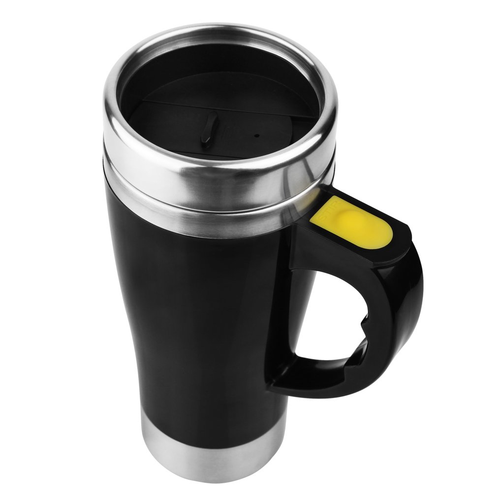 Self Stirring Coffee Mug Cute Stainless Steel Automatic Electric Mixing Cup Customized Logo Black 15.2oz