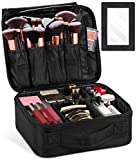 Syntus Travel Makeup Bag with Mirror, Portable Train Cosmetic Case Organizer with Adjustable Dividers Large Capacity for Cosmetic Makeup Brushes Toiletry Jewelry Digital Accessories, Black
