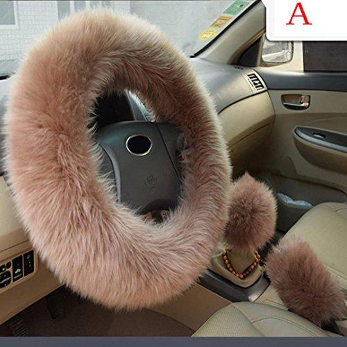 Dreamyth Steering Wheel Cover,Gear Shift &Handbrake Set Soft Fluffy Long Plush Case Women Auto Beauty