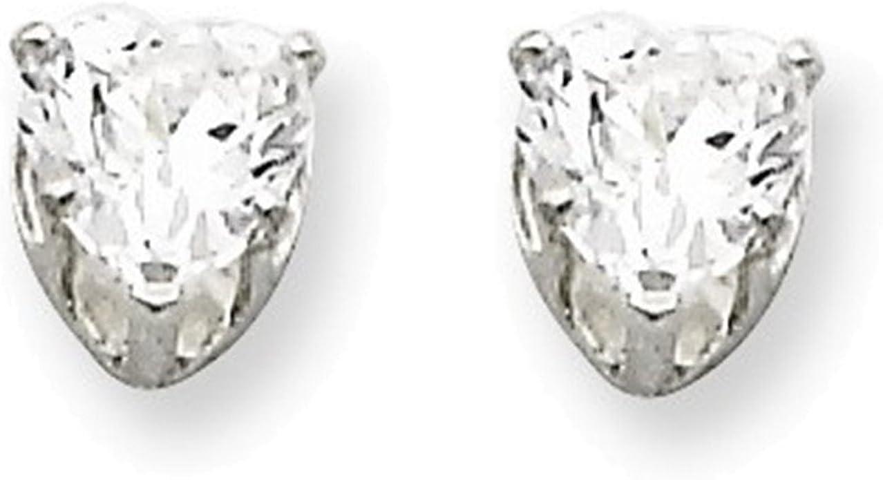Sterling Silver 5mm Heart 3 Prong Basket Set CZ Stud Earrings