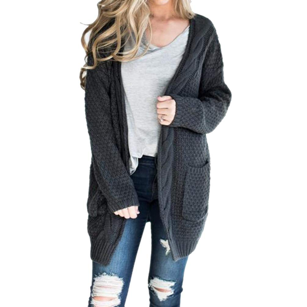 532c1383bf7 JEELINBORE Femmes Cardigan Pull Manches Longues en Maille Chandail Outwear  Gilet avec Poches