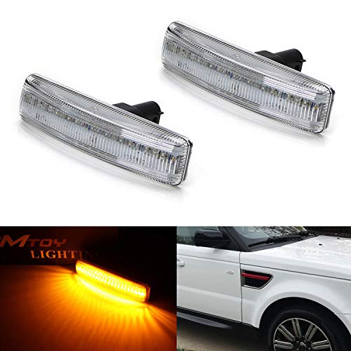 iJDMTOY Clear Lens Amber Full LED Front Side Marker Light Kit For 2006-13 Range Rover Sport, 2008-09 LR2 Freelander, 2005-15 LR3 LR4 Discovery, Powered by 30-SMD LED, Replace OEM Sidemarker Lamps