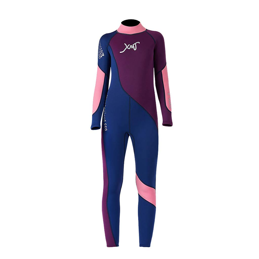FEDULK Children Wetsuit Scuba One Piece Diving Suit Snorkeling Surfing Swimsuit for Water Sport(Purple, Small)
