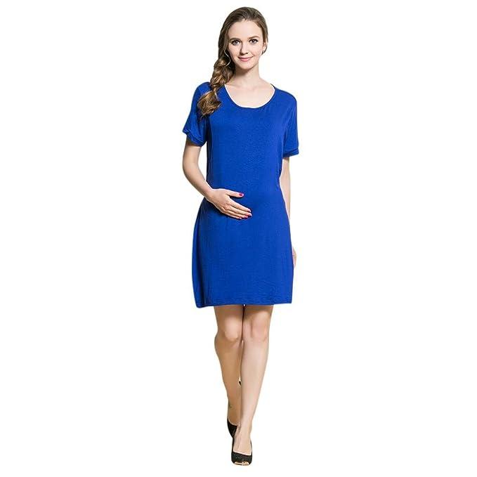 QinMM Vestido de Mujer Lactancia de Doble Capa, Premamá Blusa Maternidad Embarazo de manga cortos