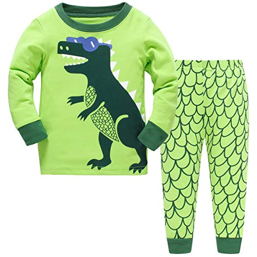 Schmoopy Boys Pajamas Long Sleeve Set with Dinosaur for Toddler and Kid Boys Size 6