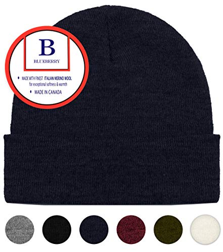 Blueberry Uniforms Navy Merino Wool Beanie Hat -Soft Winter and Activewear Watch Cap